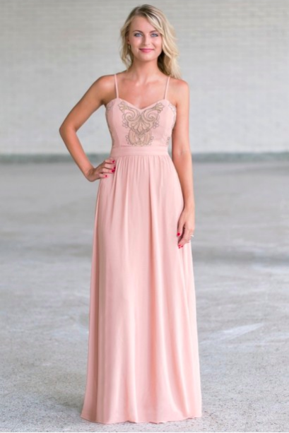 Blush long bridesmaid dresses under 100 sarah rachel finke for Long wedding dresses under 100