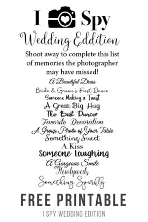 I Spy Wedding Edition Game Free Printable -